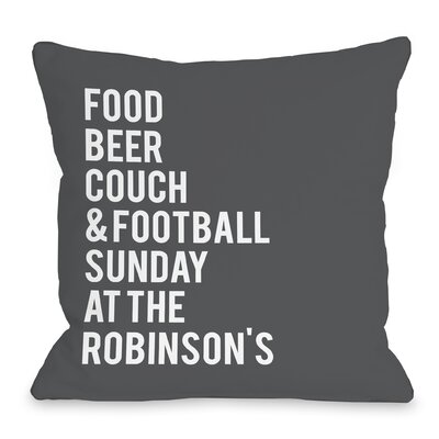 Personalized Football Sunday At The Family Throw Pillow Size: 16 H x 16 W x 3 D