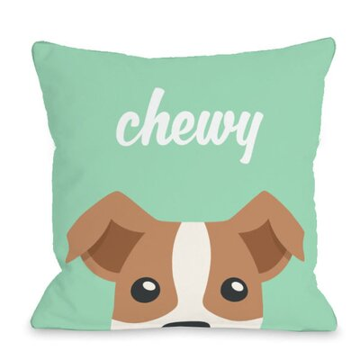Personalized Peeking Terrier Throw Pillow Size: 18 H x 18 W x 3 D