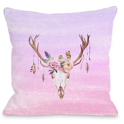 Deer Head Peony Throw Pillow Size: 18 H x 18 W x 3 D
