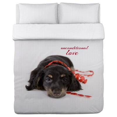 Unconditional Love Pup - Lightweight Duvet Cover Size: King