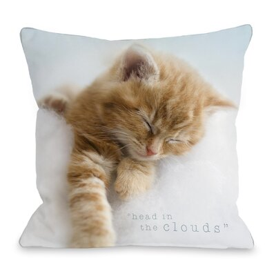 Head in the Clouds Kitten Throw Pillow Size: 16 H x 16 W x 3 D