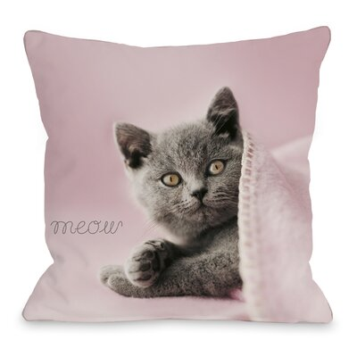 Meow Blanket Cat Throw Pillow Size: 16 H x 16 W x 3 D