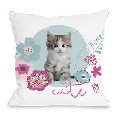 Cute Kitten Throw Pillow Size: 18 H x 18 W x 3 D