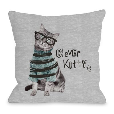 Clever Kitty Throw Pillow Size: 18 H x 18 W x 3 D