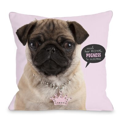 Pugness Throw Pillow Size: 16 H x 16 W x 3 D