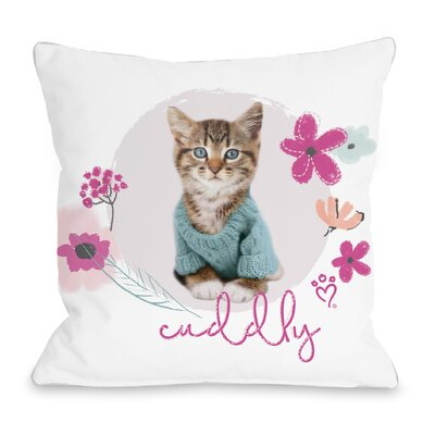 Cuddly Kitten Throw Pillow Size: 18 H x 18 W x 3 D