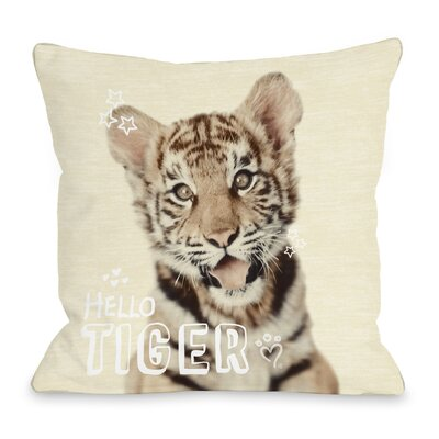 Hello Tiger Throw Pillow Size: 18