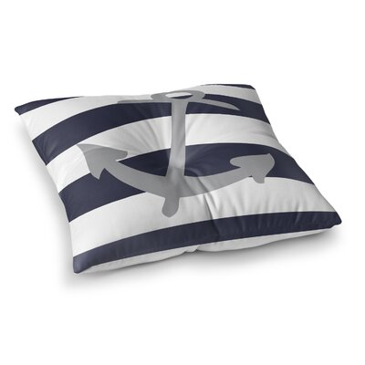 Terry Striped Anchor Outdoor Floor Pillow Size: 23 x 23