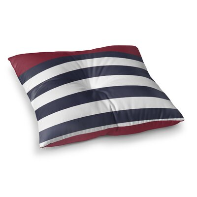 Vella Nautical Stripes Outdoor Floor Pillow Size: 23 x 23, Color: Red/Navy