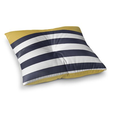 Vella Nautical Stripes Outdoor Floor Pillow Size: 23 x 23, Color: Mimosa/Navy