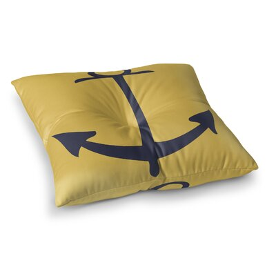 Howe Vintage Anchor Outdoor Floor Pillow Size: 4 H x 23 W x 23 D, Color: Mimosa Navy
