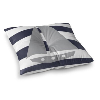 Daniel Striped Sailboat Outdoor Floor Pillow Size: 23
