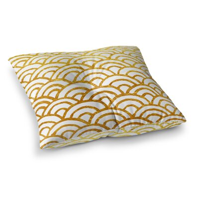 Corvally Scallop Outdoor Floor Pillow Size: 23 H x 23 W x 4 D, Color: Gold