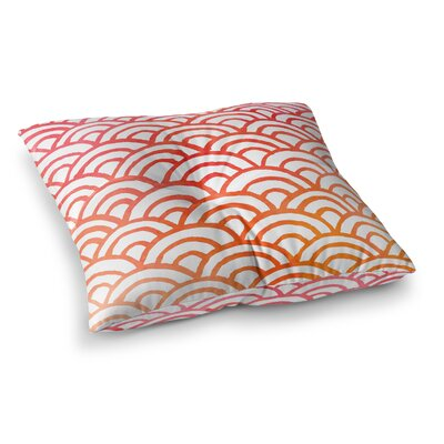 Corvally Scallop Outdoor Floor Pillow Size: 23 H x 23 W x 4 D, Color: Red/Orange