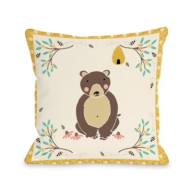 Claravale Golden Honey Bear Throw Pillow Size: 16 H x 16 W x 3 D