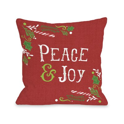 Mitzi Peace and Joy Throw Pillow Size: 16 H x 16 W x 3 D