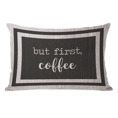 Brocade But First Coffee Lumbar Pillow