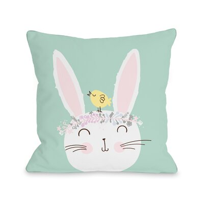 Chadbourn Flower Crown Bunny Throw Pillow Size: 16 H x 16 W x 3 D