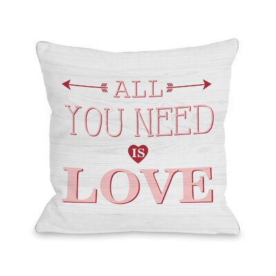 Rocket All You Need Is Love Wood Throw Pillow Size: 18 H x 18 W x 3 D