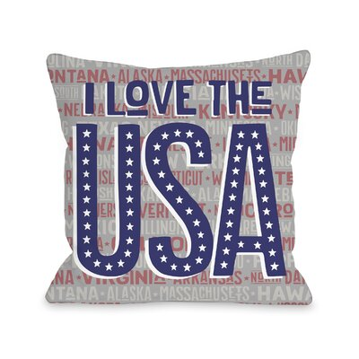 Leena I Love the USA Throw Pillow Size: 18 H x 18 W x 3 D
