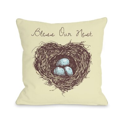 Aly Bless Our Nest Throw Pillow Size: 18 H x 18 W x 3 D