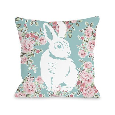 Cofield Bunny in The Garden Throw Pillow Size: 18 H x 18 W x 3 D