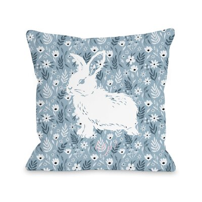 Columbus Hop Bunny Floral Throw Pillow Size: 16 H x 16 W x 3 D