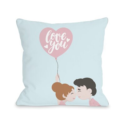 Deepwater Love You Balloon Throw Pillow Size: 16 H x 16 W x 3 D