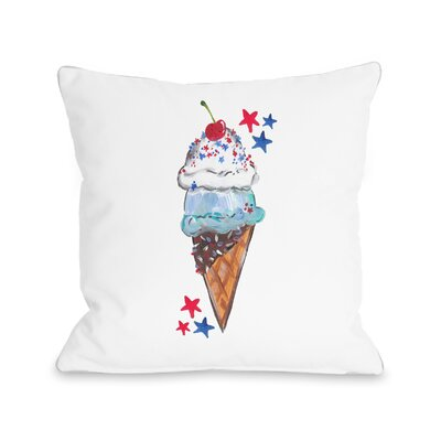 Lula Americana Ice Cream Cone Throw Pillow Size: 18 H x 18 W x 3 D