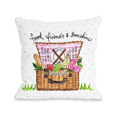 Schmidt Food Friends Sunshine Basket Throw Pillow Size: 18 H x 18 W x 3 D