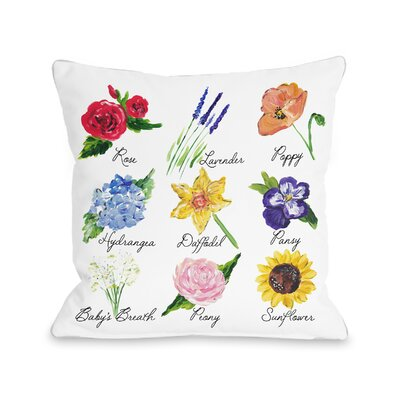 Patel Flower Chart Throw Pillow Size: 18 H x 18 W x 3 D