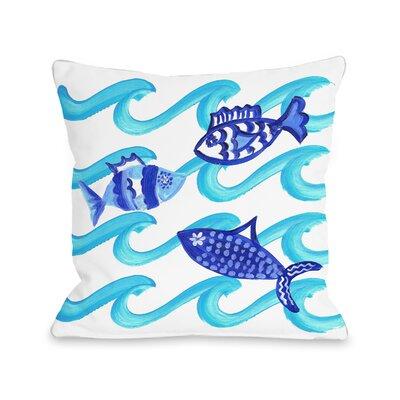 Eckhoff Blue Fish Outdoor Throw Pillow Size: 16 x 16