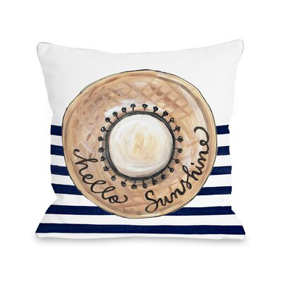 Ortiz Hello Sunshine Hat Throw Pillow Size: 18 H x 18 W x 3 D