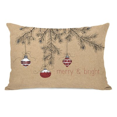 Merry and Bright Ornaments Lumbar Pillow