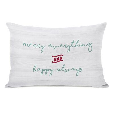 Merry Everything Happy Always Script Lumbar Pillow