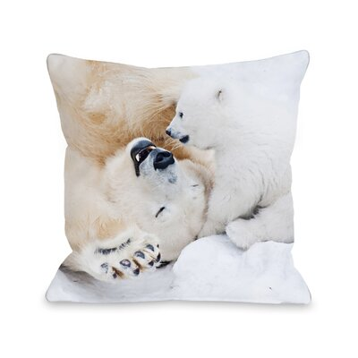 Polar Bear Happiness Throw Pillow Size: 16 x 16