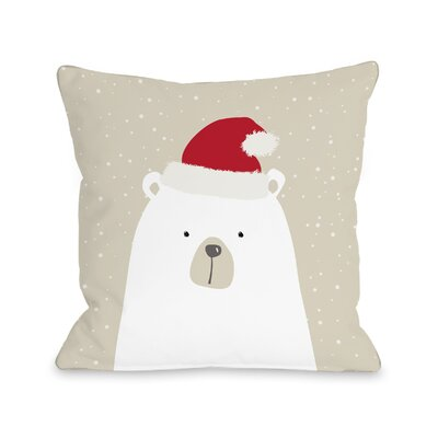 Cheyne Santa Polar Bear Throw Pillow Size: 16 x 16