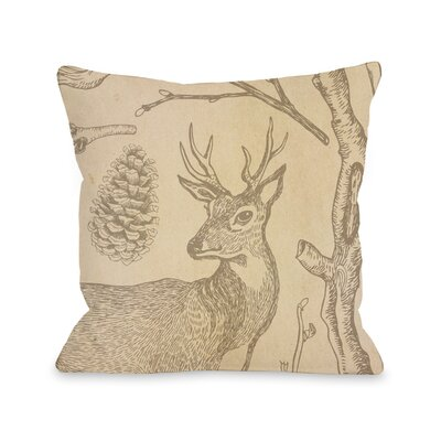 Brendan Woodland Deer Throw Pillow Size: 18 x 18