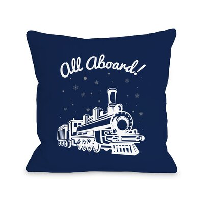 Cristian All Aboard Train Throw Pillow Size: 16 x 16