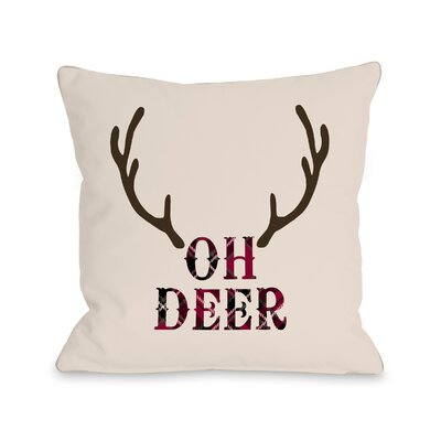 Oh Deer Antlers Throw Pillow Size: 18 x 18