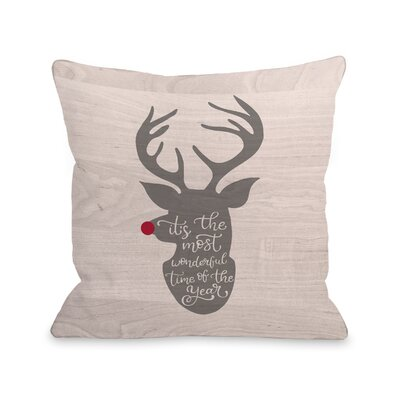 Wonderful Time Reindeer Throw Pillow Size: 16 x 16