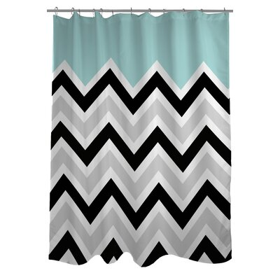 Chevron Solid Shower Curtain Color: Light Blue