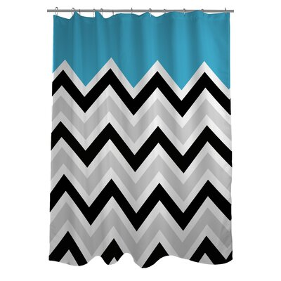 Chevron Solid Shower Curtain Color: Aqua