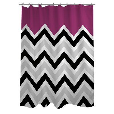 Chevron Solid Shower Curtain Color: Fuchsia