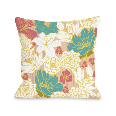 Ornate Florals Throw Pillow Size: 16 H x 16 W x 3 D, Color: Coral Multi