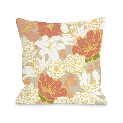 Ornate Florals Throw Pillow Size: 16 H x 16 W x 3 D, Color: Grey Multi