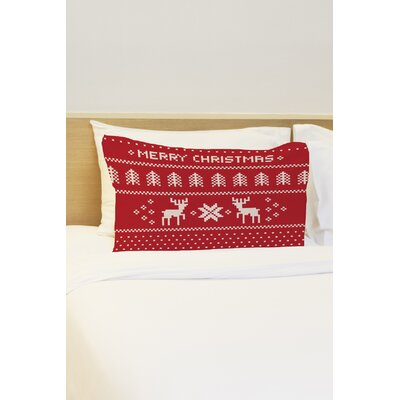 Christmas Sweater Pillow Case Color: Red / White
