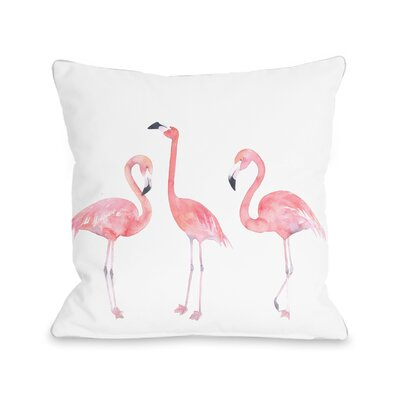 Floral Flamingo Friends Throw Pillow Size: 16 x 16