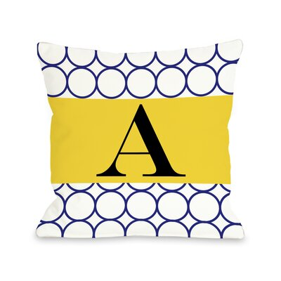 Circles Monogram Pillow Color: Navy
