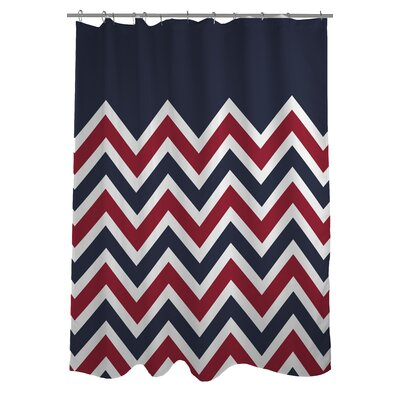 Chevron Solid American Woven Polyester Shower Curtain